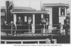 My Mom, center, going to camp on Virginia V, c. 1940